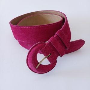 Leslie Suede Leather Pink Wide Belt